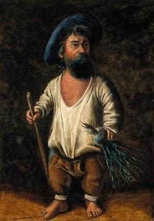 view Francesco Ravai, called il Bajocco, a dwarf. Watercolour.