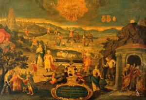view An allegory. Oil painting by a follower of Joris Hoefnagel.