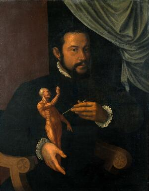 view A man holding an écorché statuette. Oil painting.