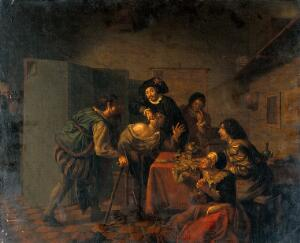 view Tooth extraction. Oil painting attributed to a member of the Horemans family.