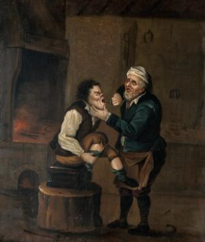 view A farrier extracting a tooth from a man's mouth. Oil painting by a follower of D. Teniers II.