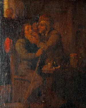 view A man extracting a tooth from a seated man. Oil painting.