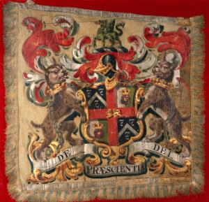 view Barge-flag: achievement of arms of the Worshipful Company of Barber-Surgeons of London. Gouache on cloth.