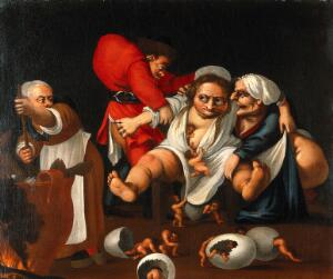 view Grotesque parody of an accouchement. Oil painting attributed to Faustino Bocchi.