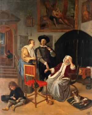 view A physician taking the pulse. Oil painting after Jan Steen.