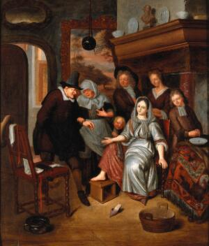 view A surgeon preparing to let blood from the foot of a girl, in the presence of five other figures. Oil painting after Richard Brakenburg.