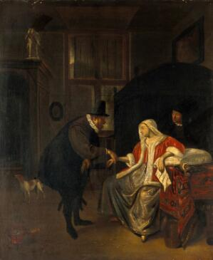 view A physician taking the pulse of a lovesick girl. Oil painting after Jan Havicksz. Steen.