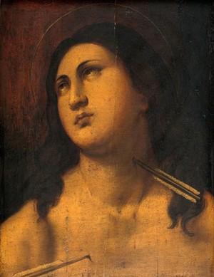 view Saint Sebastian. Oil painting.