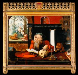 view Saint Jerome in his study. Oil painting by a follower of Joos van Cleeve.