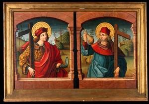 view Saint Cosmas and Saint Damian. Oil painting.