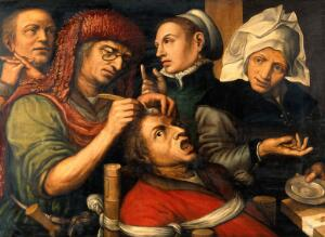 view An operation for stone in the head. Oil painting by a follower of Jan Sanders van Hemessen.