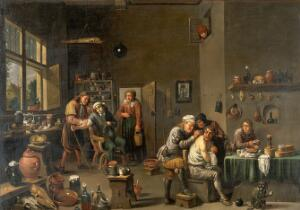 view Interior of a surgery with two operators, one letting blood from a man's arm, the other giving treatment to a man's back. Oil painting by a follower of David Teniers the younger.