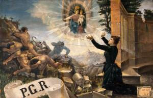 view A woman expressing thanks to the Madonna del Parto for cure of insanity in the form of expelled devils. Oil painting.