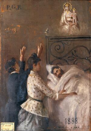 view Two women attending a man in bed and appealing to Sansovino's Virgin and Child. Oil painting by an Italian painter, 1888.
