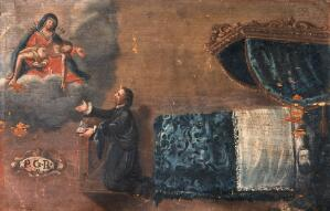 view A man, having recovered from sickness, gives thanks to the Virgin of the Seven Sorrows. Oil painting by an Italian painter.