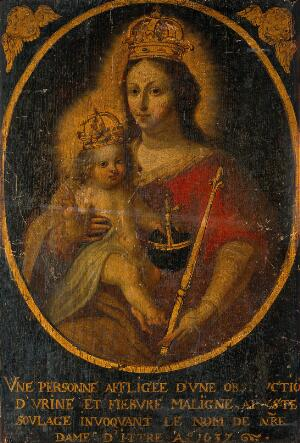 view The Virgin of Ittre with the Christ Child, crowned and holding the orb and sceptre. Oil painting, 1637.