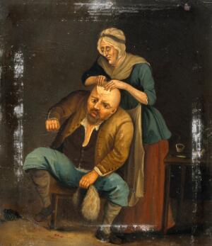 view A woman treating a man's head-wound. Oil painting after J. Nixon.