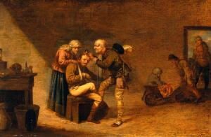 view A surgeon attending to a man's head. Oil painting by Pieter Jansz Quast.