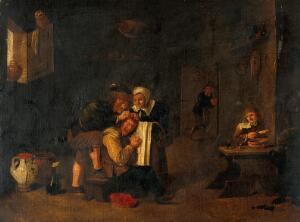 view A surgical operation on a man's head. Oil painting by a follower of David Teniers the younger.