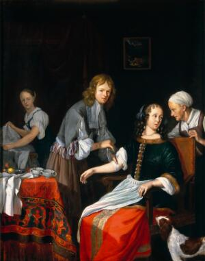 view A surgeon binding up a woman's arm after bloodletting. Oil painting by Jacob Toorenvliet, 1666.