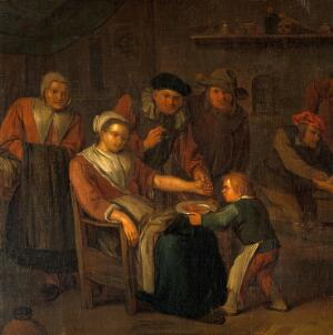 view Interior of a surgery with a woman having blood let from the arm, a surgeon treating a man's injured foot, and other figures. Oil painting by Egbert I or II van Heemskerck.