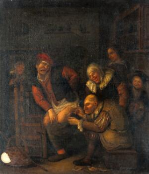 view A surgeon operating on a man's thigh. Oil painting.