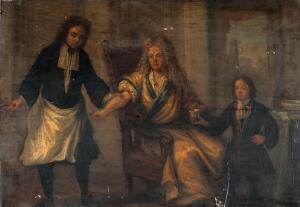 view A surgeon letting blood from a man's arm. Oil painting.