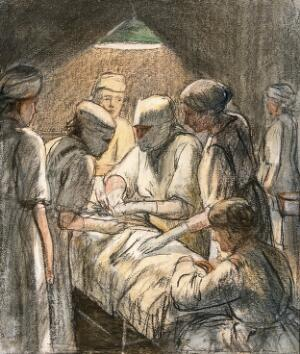 view An operation for appendicitis at the Military Hospital, Endell Street, London. Chalk drawing by Francis Dodd, 1920.