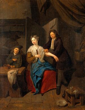 view A surgeon preparing to let blood by cupping, his apprentice warming the cupping glass. Oil painting attributed to Jan Baptist Lambrechts.