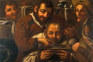 view Barber-surgeons operating on a boil on a man's forehead. Oil
