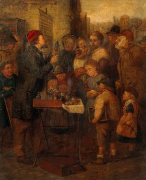 view An itinerant quack-doctor. Oil painting by an English painter, mid-19th century.