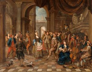 view Festivities with an actor as a charlatan. Oil painting by a Flemish painter, ca. 1750.