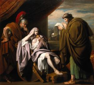 view Alexander the Great's confidence in his physician Philip of Acarnania. Oil painting by Benjamin West.