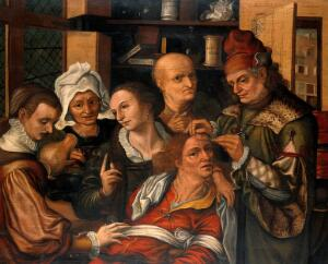 view A surgeon extracting the stone of folly. Oil painting by Pieter Huys, ca. 1561.
