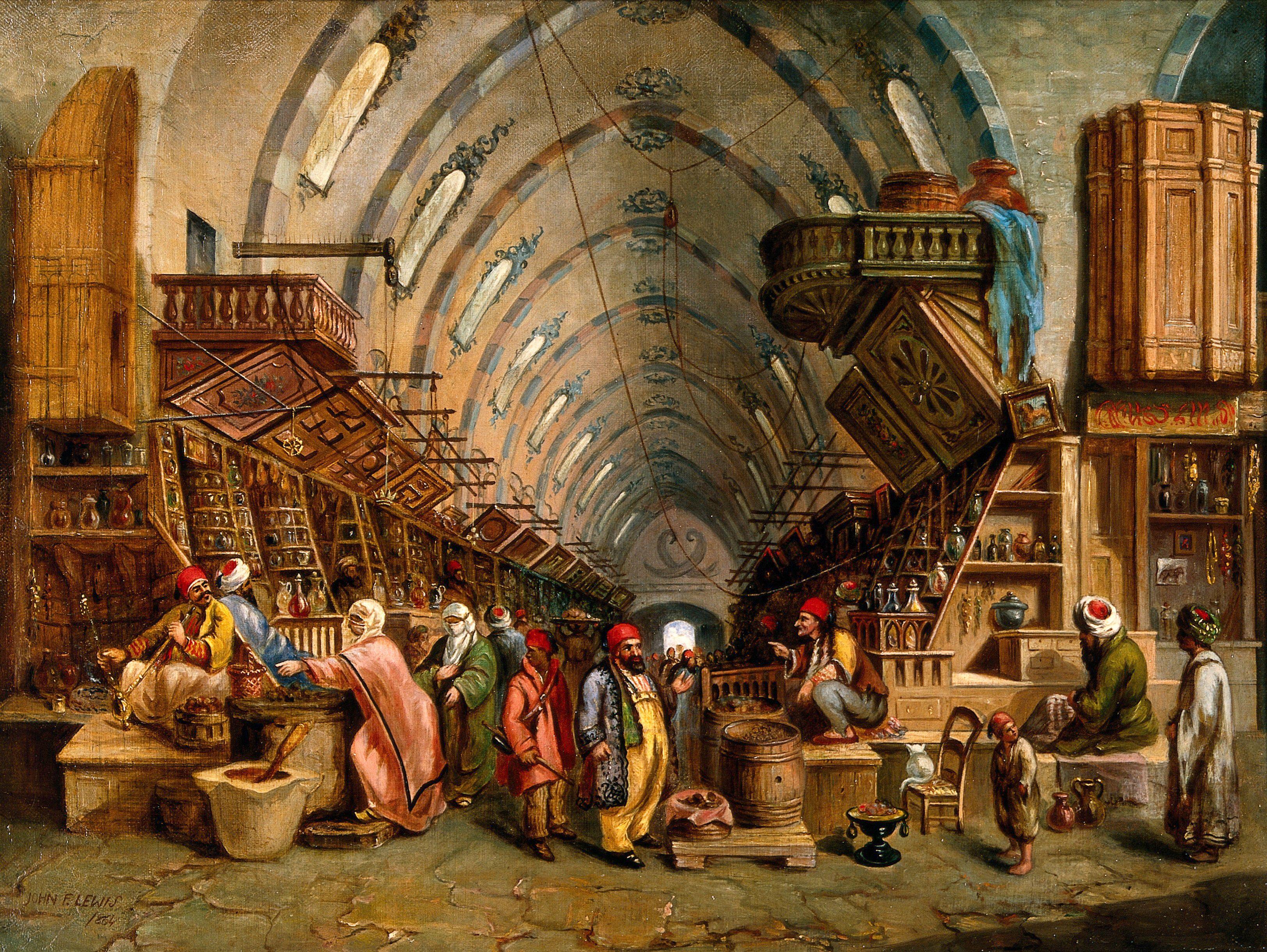 A bazaar (the Egyptian bazaar, Constantinople?)  Oil painting