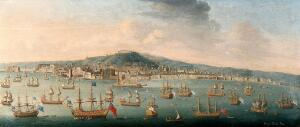 view The bay of Naples with the British fleet at anchor, 1 August 1718. Oil painting by Gaspar Burla.