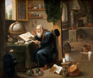 view An alchemist in his laboratory. Oil painting by a follower of David Teniers the younger.