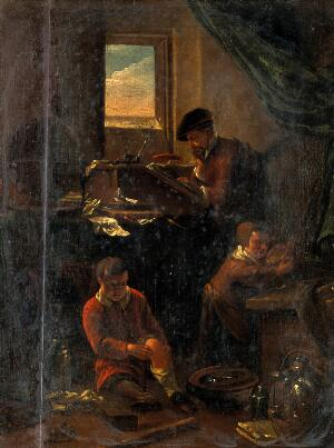 view A philosopher in his study, with two children. Oil painting by Thomas Wijck (Thomas Wyck).