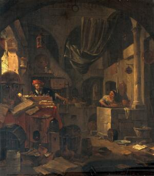 view Interior with an alchemist making a gesture of surprise, and a female assistant. Oil painting by Thomas Wijck.