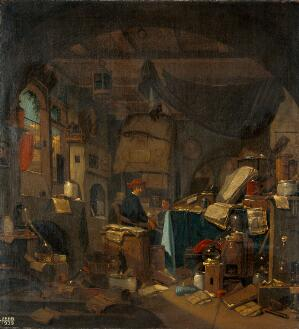 view Interior with an alchemist seated at a table, looking out of the picture. Oil painting by Thomas Wijck.