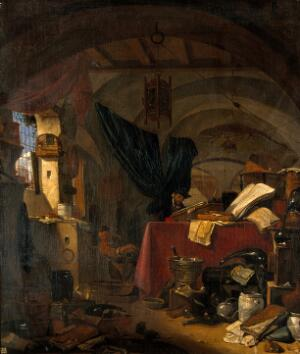 view Interior with an alchemist studying a book, his assistant pouring liquid into a bowl. Oil painting by Thomas Wijck.