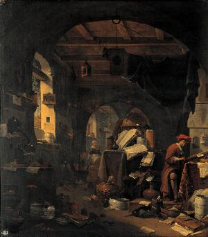 view Interior with an alchemist. Oil painting by Thomas Wijck.
