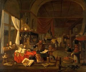 view An alchemist. Oil painting.