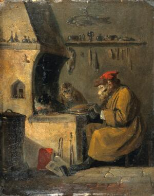 view A monkey alchemist. Oil painting by E. Bristow.