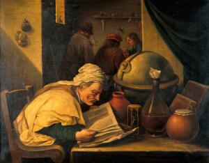 view An alchemist in his laboratory. Oil painting after David Teniers the younger.