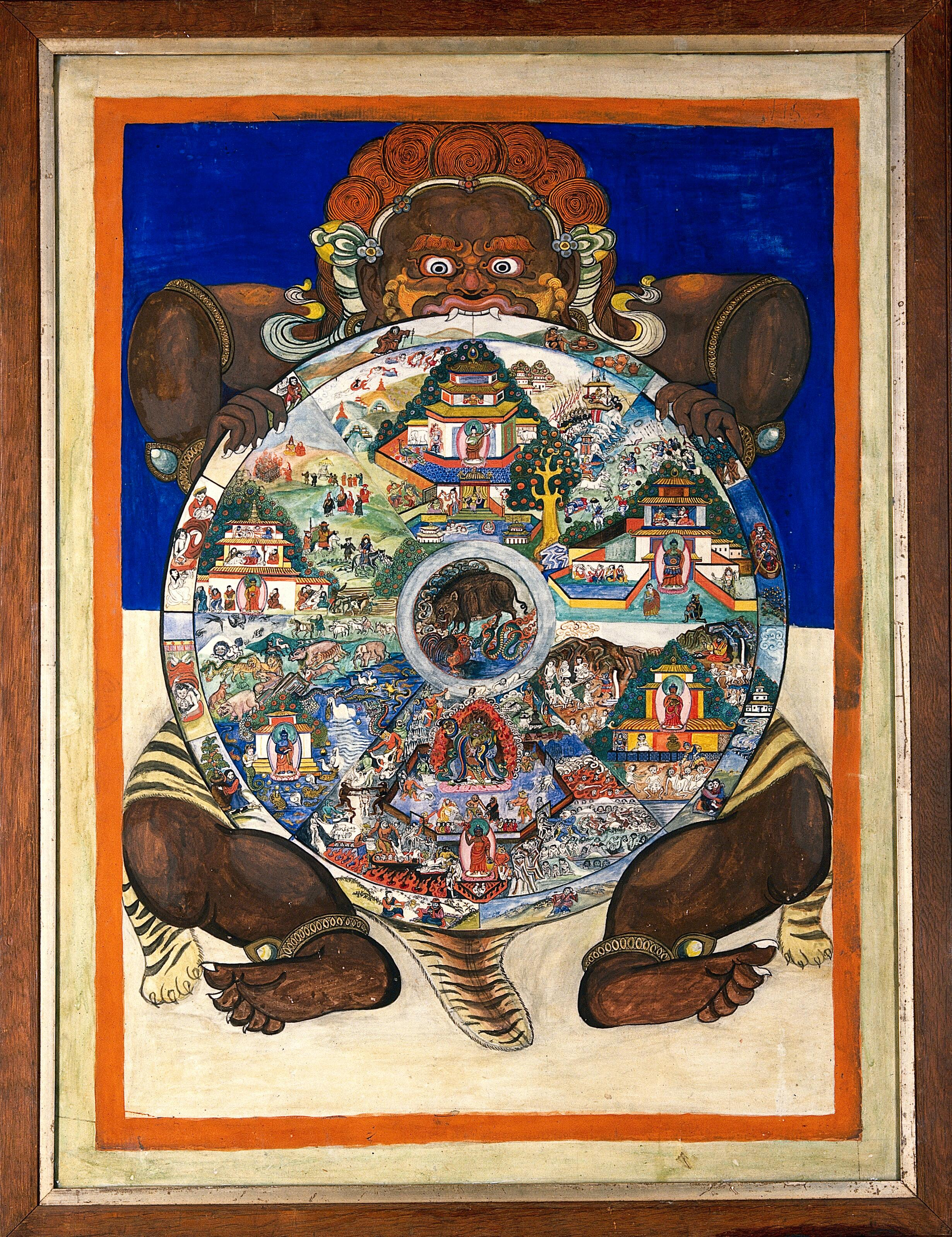 Yama, the Lord of Death, holding the Wheel of Life which ...