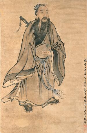 view A standing man. Watercolour by a Chinese painter.