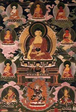 view The medicine Buddha. Gouache.