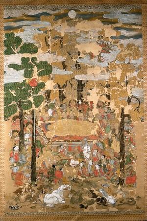view Death of the Buddha. Gouache.