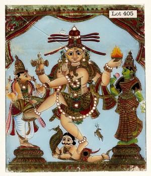 view A Hindu deity. Gouache.